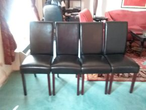 Lot 003 Lot of 4 Leather Chairs 38.5H x 19W x 16.25L. AS IS - Rip On One Chair. PICK UP IN HEMPSTEAD.
