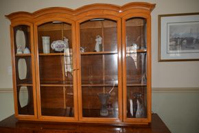 Lot 007 2 Glass Door China Cabinet w/Storage Cabinet 72H x 72W x 19L PICK UP IN MAVLERNE, NY