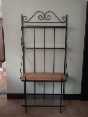 Lot 036 Metal Wood and Glass Bakers Rack 75H x 16W x 35L ITEM CAN BE PICKED UP IN GARDEN CITY