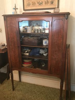 Lot 024 Antique China Cabinet 60H x 15W x 40.5L PICK UP IN LYNBROOK