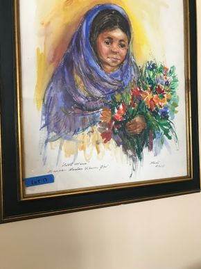 Lot 064 Roche A.W.S Signed Lithograph Little Marion Mexican Indian Flower Girl 26x24