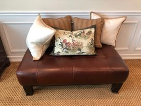 Lot 028 Leather Ottoman (Pillows Not Included) 49L x 18W PICK UP IN PECONIC/RIVERHEAD