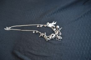 Lot 028 Sterling Silver Charm Necklace 26L PICK UP IN GLEN COVE, NY