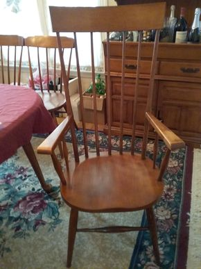Lot 008 Lot Of 2 Tall Armed Spindle Chairs 45.5H x 17W x 24L PICK UP IN GARDEN CITY