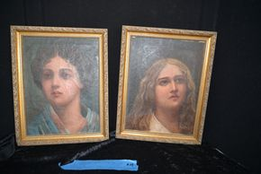 Lot 014 Pick Up 2 Early 20th Century Italian Portraits Oil Canvas 11.5H x 8.5W PICK UP IN GARDEN CITY