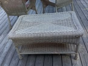Lot 047 Outdoor Wicker Coffee Table 18H x 20W x 32L PICK UP IN COMMACK