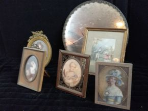 Lot 038 Lot of 5 Miniature Portraits Framed