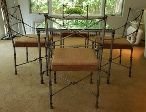 Lot 006 Square Glass Top-Metal Game Type Table 29H x 36W 4 Armchairs 37H x 20W 18D PICK UP IN HEWLETT,NY