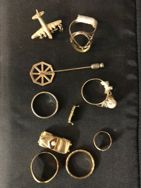 Lot 034 PUP Lot of 14K Gold including Charm/Rings/Pin PICK UP IN GARDEN CITY