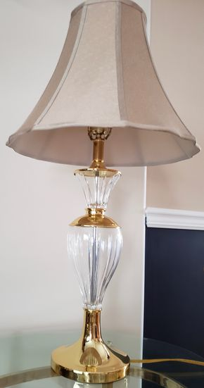 Lot 008 Glass Table Lamp w/shade 32H Base 6.75 W PICK UP IN WILLISTON PARK,NY