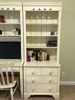 Lot 040 White dresser with bookshelf 30in L X 19in W X 78in H PICK UP IN GARDEN CITY 2