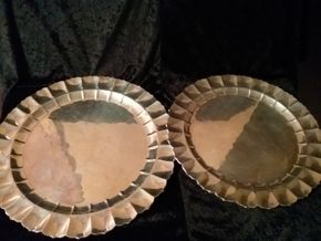 Lot 025 Pair Of  Sterling Silver Round Platters Largest Measuring 16 Inches in Diameter PICK UP IN MANHASSET