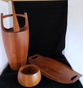 Lot 008 CC- tj ship/Lot of 3 Vintage Danish Mid Century Modern Jens Quistgaard Designs for Dansk. Solid Teak Ice Bucket Congo 811 w/Top and Ice Thongs 19.5H / Vintage Teak Tray 801 20.375H /Vintage Staved Teak Wood Bowl IHQ 6H PICK UP IN CARLE PLACE,NY