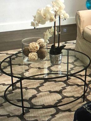 Lot 071 Round Glass Coffee Table PICK UP IN WOODMERE