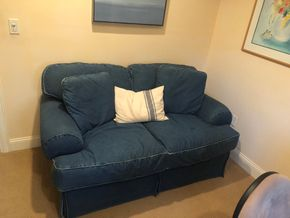 Lot 019 Denim Upholstered LoveSeat PICK UP IN PORT WASHINGTON