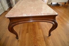 Lot 002 Wood and Marble Coffee Table 17H x 54W x 23L PICK UP IN CENTERPORT