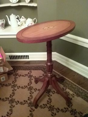Lot 096 Decorative Ethan Allen Decorative Oval Pedestal side Table 27 Inches Tall PICK UP IN GARDEN CITY