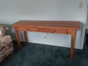 Lot 109 Pine Console Table 28H x 16.6W x 60L PICK UP IN OLD BROOKVILLE