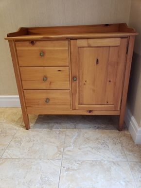 Lot 012 Buffet Server 3 Drawer 1 Storage Cabinet 39H x 40.5W x 19D PICK UP IN GARDEN CITY, NY