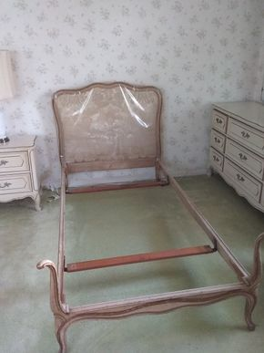 Lot 018 Twin Size Wood and Upholstered Headboard and Bed Frame PICK UP IN GARDEN CITY