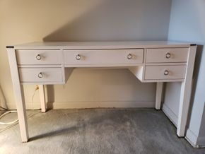 Lot 019 Excellent Condition Wooden Desk White Wood Nickel Corner Accents and Loop 5 Drawer Pulls  30H x 52W x 21.5D PICK UP IN FOREST HILLS,NY