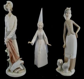 Lot 035 CC-PU/ of 3 Lladro Figurines  Don Quixote Standing Up 11.811 x 3.937W x 3.937/ Girl with Geese 11H x 4W x 4.75D/Fairy Godmother Wizard Girl 11.25H x 2.75W x 3.5D PICK UP IN CARLE PLACE,NY