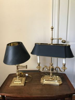 Lot 058 Lot of 2 Brass Lamps 24Hx17Longx18High. CAN BE PICKED UP IN GARDEN CITY.