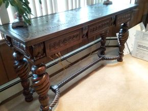 Lot 023 Large Mahogany Hand Carved Console Table with Metal Top 35x 22 x 67.5 PICK UP IN ROCKVILLE CENTRE
