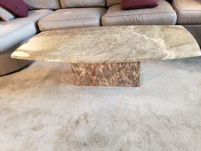 Lot 029 Oblong Granite Pedestal Coffee Table 17H x 55W x 25.25D PICK UP IN FOREST HILLS,NY
