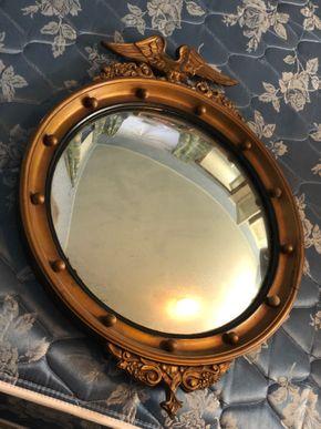 Lot 035 TJ DEL Wooden Bulls Eye Mirror PICK UP IN GARDEN CITY