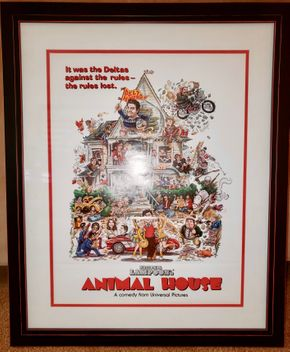 Lot 022 Framed  Animal House Movie Poster 21H x 16 W PICK UP IN HEWLETT,NY