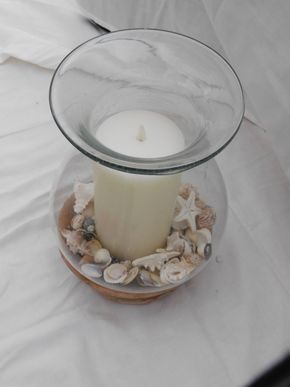 Lot 009 Hurricane Glass Display with Candle and Sea Shells 13H x 7W x 7L PICK UP IN CENTERPORT