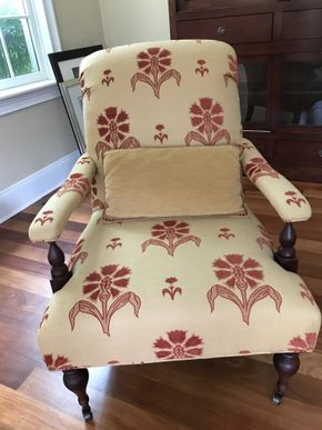 Lot 045 Baker Milling Road Collection Fabric Chair Wih Wheels 39H x 30W x 30L PICK UP IN LAWRENCE