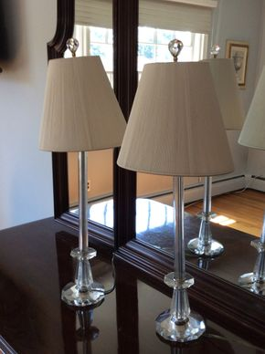 Lot 019 Pair Of Glass Candlestick Table Lamps PICK UP IN CENTERPORT