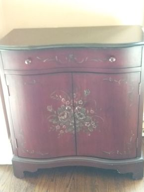 Lot 006 Hand Painted with Stone Top Decorative Cabinet 33 x 16 x 31 PICK UP IN ROCKVILLE CENTRE