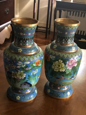 Lot 016 Pair of Asian Cloisonne Vases 16H X 8W PICK UP IN RVC