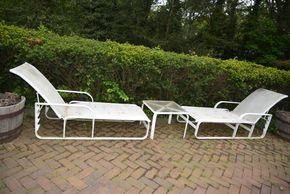 Lot 029 Delivery Lot of 2 Outdoor Lounge Chairs 38H x 26.5W x 58L /1 Table Glass Top 16.375H x22.25W x 22.25L PICK UP IN PORT WASHINGTON, NY