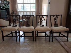Lot 019 Lot of 4 Upholstered Dining Side Chairs Approx. Dimensions 37H x 21W x 18D PICK UP IN EASTPORT,NY