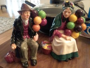Lot 004 Royal Doulton Balloon Lady And Balloon Man  Approx 7 Inches Tall PICK UP IN GLEN COVE