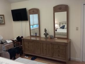 Lot 030 American Of Martinsville Double Mirror Dresser  79.5H x 20W x 77L PICK UP IN OCEANSIDE