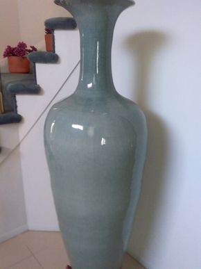 Lot 078 Celadon Asian Floor Vase 52.75 Inches Tall PICK UP IN OLD BROOKVILLE