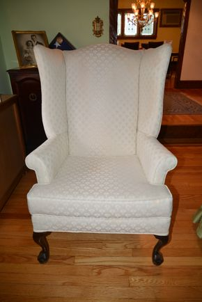 Lot 024 Upholstered Wingback Chair 45.5H x 26.25W x 30.5L PICK UP IN  MALVERNE, NY