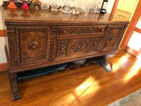Lot 001 Carved Antique Oak Sideboard Approx 43Hx93Wx21D  PICK UP IN GARDEN CITY