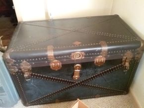 Lot 047 Large Standswell Trunk 24.5H x 22.5W x 40L PICK UP IN WEST HEMPSTEAD