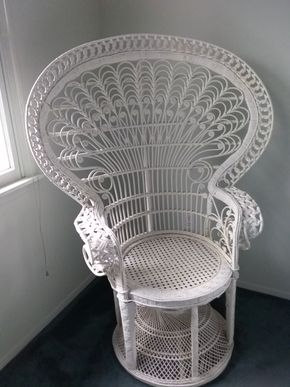 Lot 115 Wicker Bridal Chair 53H x 24W x 29L PICK UP IN OLD BROOKVILLE