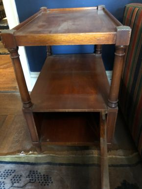 Lot 071 Antique Side Table w/Banded Inlaid Top and 1 single Small Door
