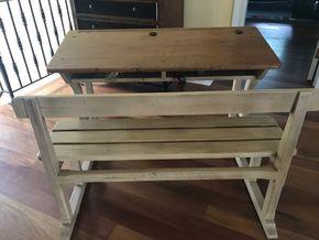 Lot 067 2 seater original Wood School Desk 31H x 30W x 23.5L PICK UP IN LAWRENCE