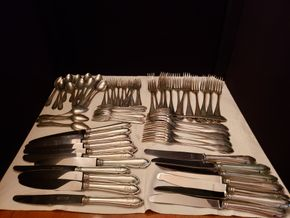 Lot 022 PU-PAY AT TAG SALE  of  Sterling Silver Flatware .800 Monogrammed