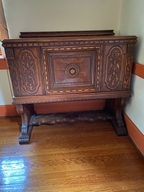 Lot 005 Carved Oak Cabinet PICK UP IN GARDEN CITY