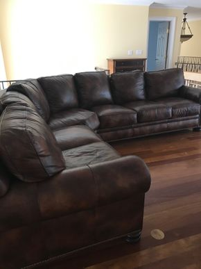 Lot 069 Hancock and Moore Leather Sectional 36H x 45W x 12 Feet PICKUP IN LAWRENCE